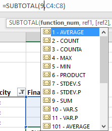 Additional Subtotal Filters and Functions