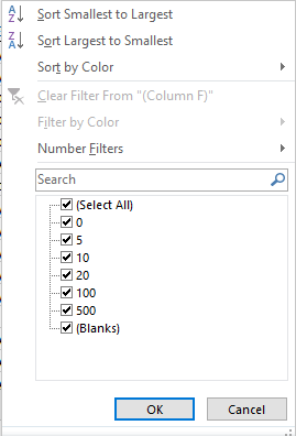 Sample Number Filters