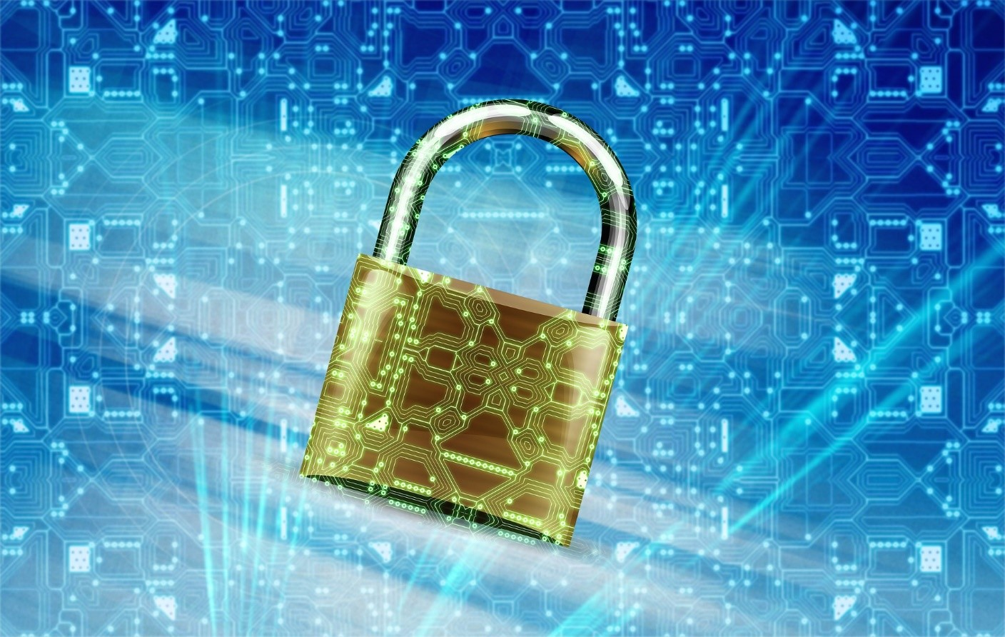 Padlock in blue field of technology